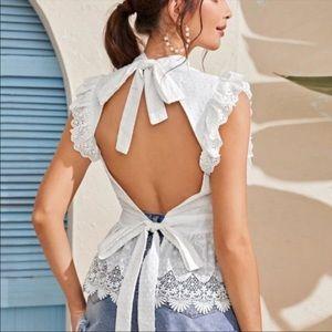 Tie Back White Blouse